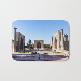 Sunset on Registan square - Samarkand, Uzbekistan Bath Mat