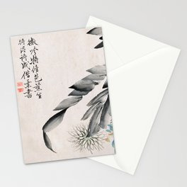 Chrysanthemums and Leaves of a Mulberry Tree - Vintage Japanese Art Print Stationery Cards