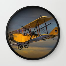 Yellow Biplane with Sunset Cloudy Sky Wall Clock