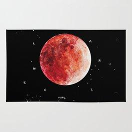 Blood Moon / Lunar eclipse / watercolor + gouache illustraion / unique event with Mars visible Rug
