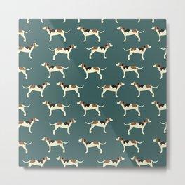 Tree Walker Coonhounds in Green Metal Print