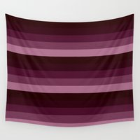 burgundy Wall Tapestries featuring burgundy stripes by Simply Chic