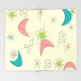 Boomerangs and Starbursts Yellow Throw Blanket