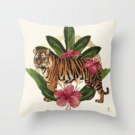 Tropical summer clip art. summer emblem useful  Throw Pillow