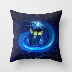Tardis Blue Vortex Throw Pillow