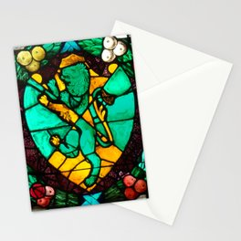 Stained glass with lion and angels Stationery Cards