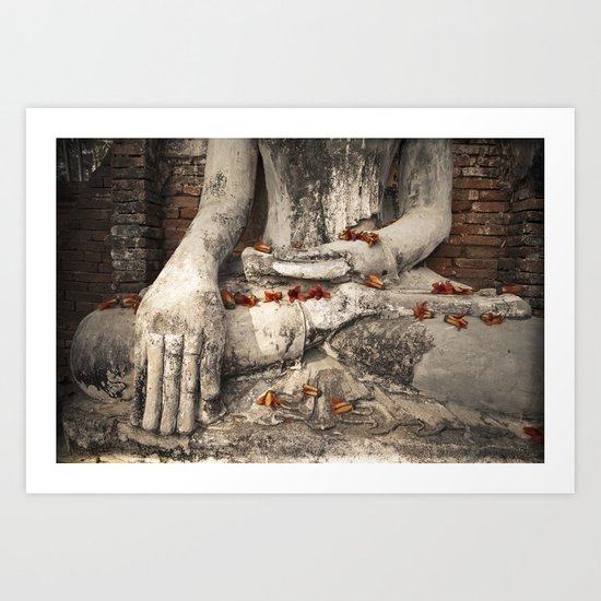 Buddha with flowers Art Print