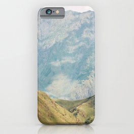 Mount Kazbegi of the Caucasus Mountains and a Church | Georgia Travel Wanderlust Photography iPhone Case
