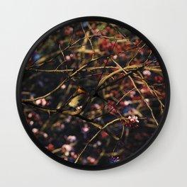 Robin in Cherry Tree Wall Clock