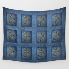 Denim Design With Jacobean Floral Wall Tapestry