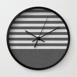 Dark and light gray color block and stripes Wall Clock
