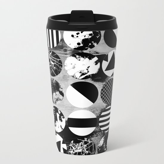 Eclectic Circles - Black and white, abstract, geometric, textured designs Metal Travel Mug