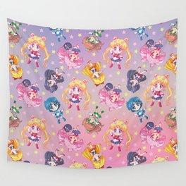Chibi Sailor Moon Crystal Pattern Wall Tapestry