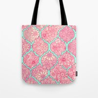 moroccan Tote Bags featuring Moroccan Floral Lattice Arrangement in Pinks by micklyn