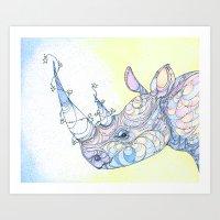 rhino Art Prints featuring Rhino by Kate Fitzpatrick