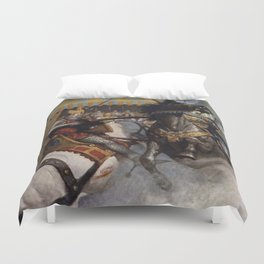 Knights jousting Duvet Cover