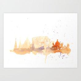 Watercolor landscape illustration_Rome - Colosseum Art Print