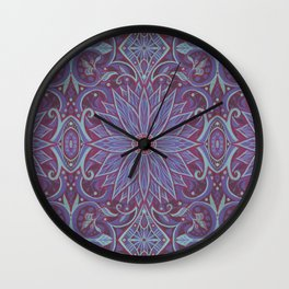 """Lavender lotus"" floral arabesque pattern Wall Clock"