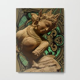 Indian Goddess Uttar Pradesh Apsara Golden Metal Print