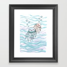 Cute jellyfishes Framed Art Print