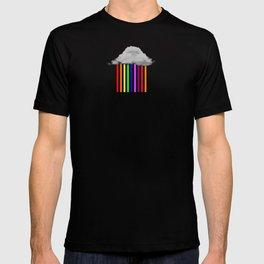 Falling Rainbows - Abstract Cloud And Rainbow Rain T-shirt