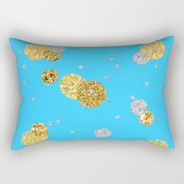 Glittery Dream-Gold Diamond Glitter Polka dots on aqua teal background Rectangular Pillow