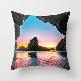 Ocean Cave At Sunset Throw Pillow