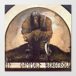 """Old Mountain Troll"" John Bauer Watercolor Canvas Print"