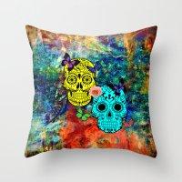 sugar skulls Throw Pillows featuring Sugar Skulls by haroulita