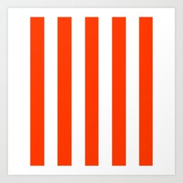 Coquelicot orange - solid color - white vertical lines pattern Art Print