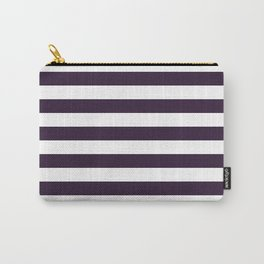 Narrow Horizontal Stripes - White and Dark Purple Carry-All Pouch