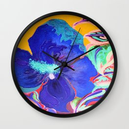 Birthday Acrylic Blue Orange Hibiscus Flower Painting with Red and Green Leaves Wall Clock