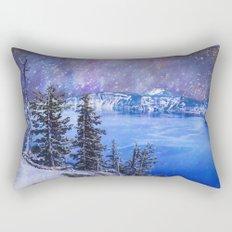 Night Sky Blue Lake Rectangular Pillow