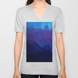 Blue abstract background Unisex V-Neck