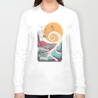 wave Long Sleeve T-shirts featuring Surf Before Christmas by Victor Vercesi