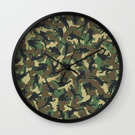 American Football Player Camo Woodland Camouflage Pattern Wall Clock