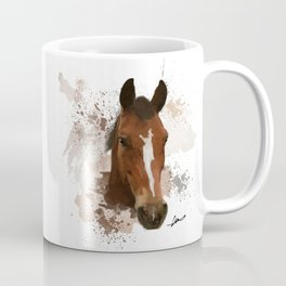Brown and White Horse Watercolor Coffee Mug