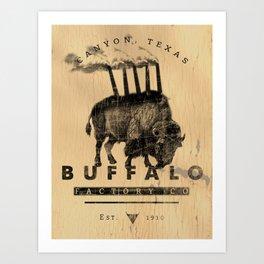 BUFFALO FACTORY Buffalo with smokestacks Art Print