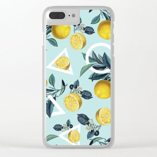 Geometric and Lemon pattern III Clear iPhone Case