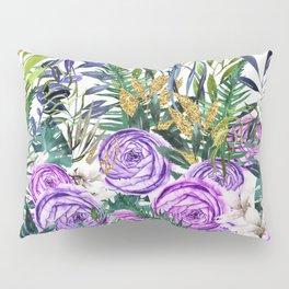 Gold Glitter Purple Garden Pillow Sham