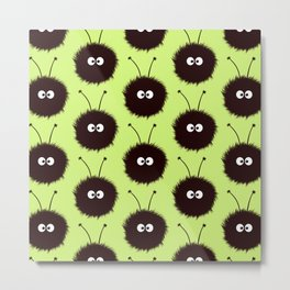 Green Cute Dazzled Bugs Pattern Metal Print