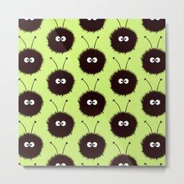 Green Cute Dazzled Bugs Pattern Metal Print