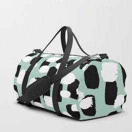 Spotted series abstract dashes mint black and white raw paint spots Duffle Bag