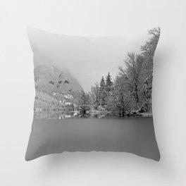 Partly Frozen Lake Bohinj Mono Throw Pillow