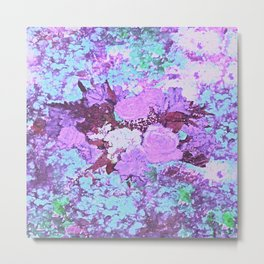 Roses Bountiful Shabby Chic in Purple and Blue Mosaic  Metal Print
