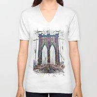 brooklyn bridge V-neck T-shirts featuring brooklyn bridge by Vector Art