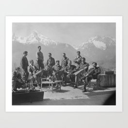 Dick Winters and his Easy Company (HBO's Band of Brothers) lounging at Eagle's Nest, Hitler's former Art Print