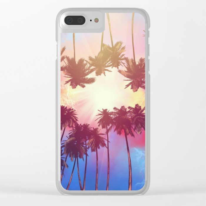 summer sunset palms Clear iPhone Case