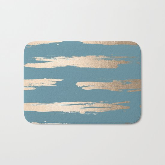 Abstract Painted Stripes Gold Tropical Ocean Blue Bath Mat