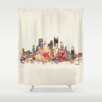 cincinnati Shower Curtains featuring pittsburgh  by bri.buckley